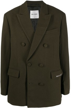 Daily Paper Double-Breasted Wool-Blend Coat