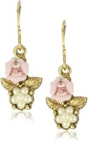 1928 Bridal Porcelain Rose Pearl Drop Earrings