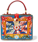 Dolce & Gabbana Dolce Leather-trimmed Painted Wood Clutch - Red