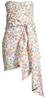 Tory Burch Taffeta Floral Tie Strapless Dress