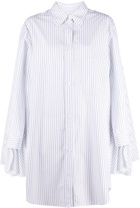 MM6 MAISON MARGIELA Cape-Detail Striped Shirt Dress
