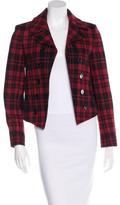 Saint Laurent Caban Cut-Away Plaid Wool Jacket