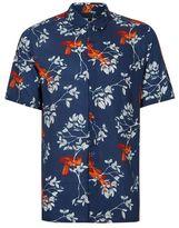 Topman Blue Bird Print Short Sleeve Viscose Shirt