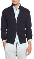 Brunello Cucinelli Double-Face Cashmere Front-Zip Sweater, Navy