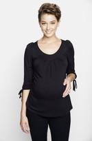 Maternal America Women's Maternity Tie Sleeve Top