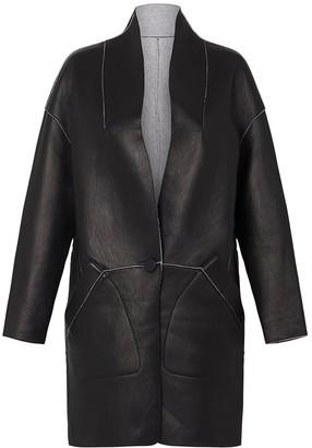 West 14th Columbus Reversible Coat Italian Black Leather