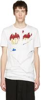 Miharayasuhiro White Massive Hole and Print T-Shirt