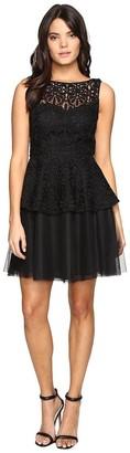 Adrianna Papell Women's Lace Peplum Dress W/Full Netted Skirt
