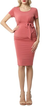 Kimi and Kai Lana Ruched Belted Maternity Dress