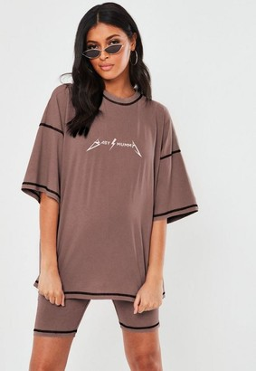 Missguided Rose Co Ord Mumma Graphic Maternity T Shirt