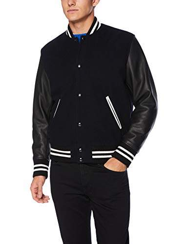 84d8e3e7a Men's Men's Varsity Bomber Jacket with Leather Sleeves