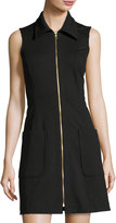 Neiman Marcus Zip-Front Sleeveless Shirtdress, Black
