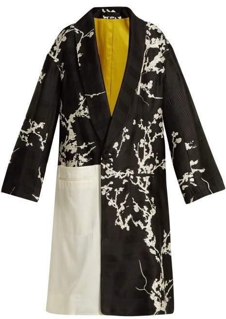 Haider Ackermann Leonotis Cherry Blossom Jacquard Coat - Womens - Black