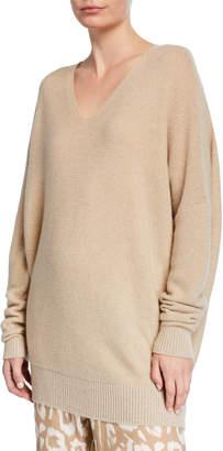 Lafayette 148 New York Cashmere Metallic Links Stitch V-Neck Sweater