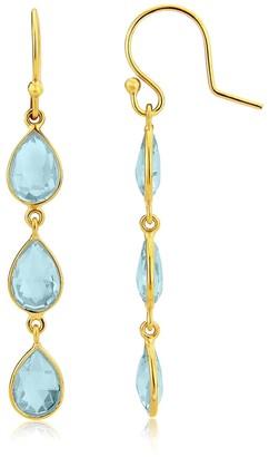 Auree Jewellery Monaco Gold Vermeil & Blue Topaz Triple Earrings