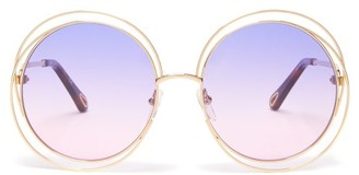 Chloé Carlina Round Metal Sunglasses - Womens - Orange Gold