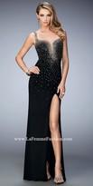 La Femme Angela Plunging Studded Prom Dress