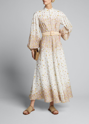 Zimmermann Carnaby Ditsy Long-Sleeve A-Line Dress