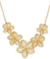 Lord & Taylor Richline 14K Yellow Gold Flower String and Mesh Leaves Pendant Necklace