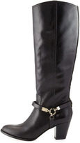 Vince Camuto Signature Dalina Dyed Leather Riding Boot, Black
