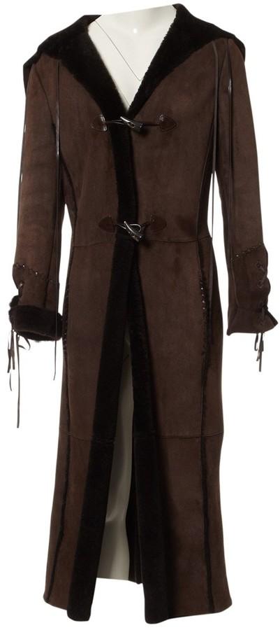 Patrizia Pepe Brown Leather Coat for Women Vintage