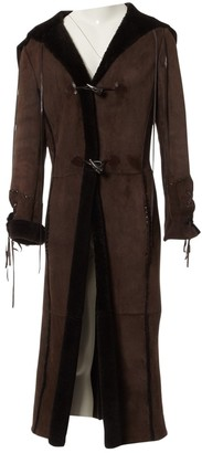 Patrizia Pepe Brown Leather Coat for Women Vintage
