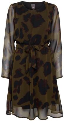 Ichi Ihinger dr dark olive all over print dress - large   dark olive   polyester - Dark olive