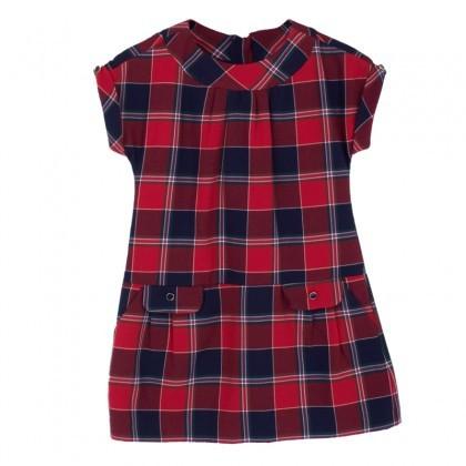 Mayoral Red & Navy Tartan Dress