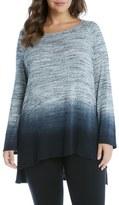 Karen Kane Dip Dye Jersey High/Low Top (Plus Size)