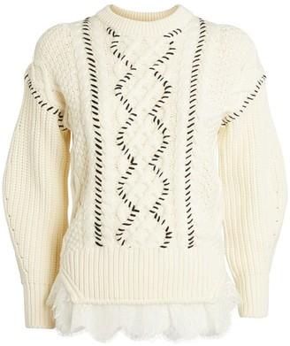 Self-Portrait Lace-Trim Cable-Knit Sweater