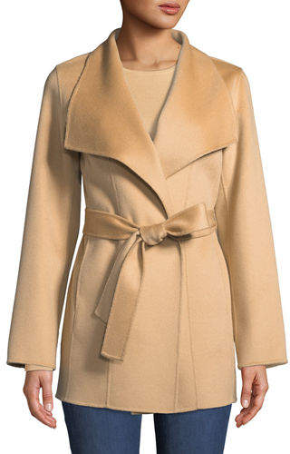 Neiman Marcus Luxury Double-Faced Cashmere Mid-Length Wrap Coat