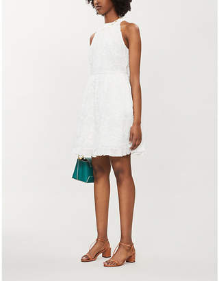 Ted Baker Lorene Halter-Neck Embroidered Cotton Mini Dress
