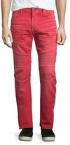 True Religion Rocco Active Moto Denim Jeans, Cho Red
