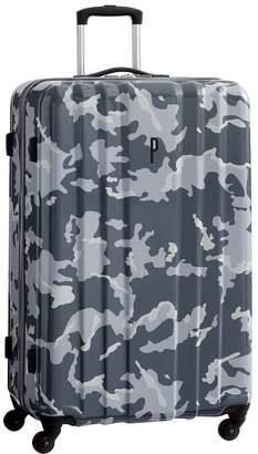 Pottery Barn Teen Channeled Hard-Sided Gray Camo Checked Spinner, 28&quot