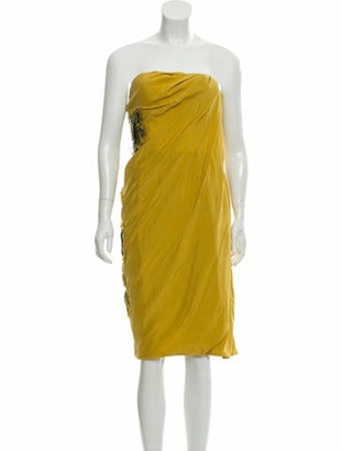 Matthew Williamson Embellished Strapless Dress w/ Tags multicolor