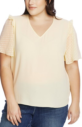 CeCe Clip Dot Sleeve Blouse
