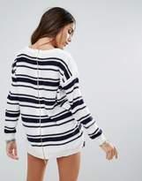Brave Soul Stripe Jumper With Zip Back