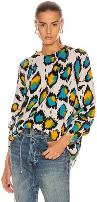 R 13 Multicolor Leopard Oversized Sweater in Multicolor Leopard   FWRD