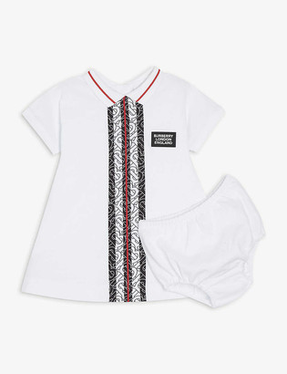 Burberry Monogram stripe cotton dress and bloomers set 6 - 18 months