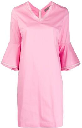 D-Exterior Ruffled Sleeve Dress