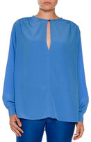 Stella McCartney Silk Keyhole Tunic Blouse, Cornflower Blue