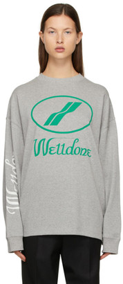 we11done Grey Logo Long Sleeve T-Shirt