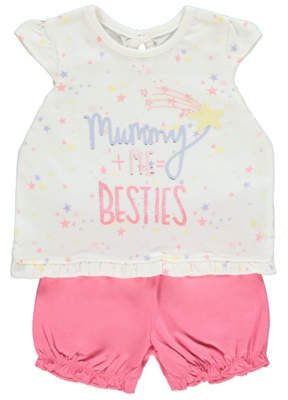 George Cream Mummy and Me Slogan Top and Shorts Outfit