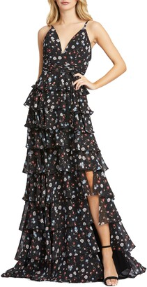Mac Duggal Floral Print Tiered Gown