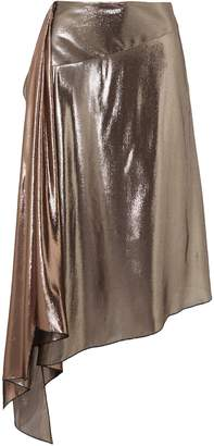Givenchy Asymmetric Draped Silk-blend Lame Skirt