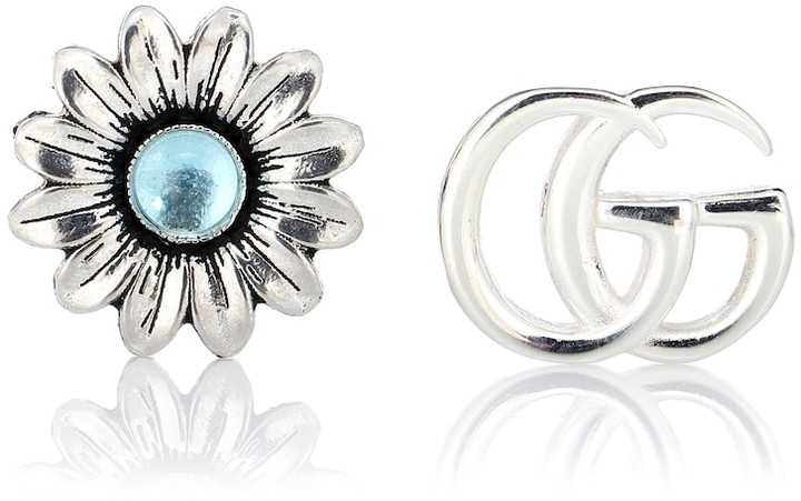 Gucci Double G flower sterling silver and topaz stud earrings