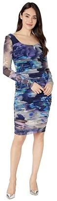 Fuzzi Long Sleeve Fitted Dress (Tenebra) Women's Dress