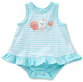 Starting Out Baby Girls Newborn-9 Months Ice Cream Embroidered Striped Ruffled Bodysuit