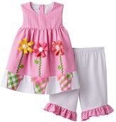 Bonnie Jean Toddler Girl Pink Gingham Plaid Ribbon Flower Dress & Bottoms Set