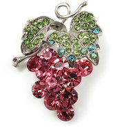 Avalaya Swarovski Crystal Bunch Of Grapes Brooch (Pink & Light Green, Silver Tone)